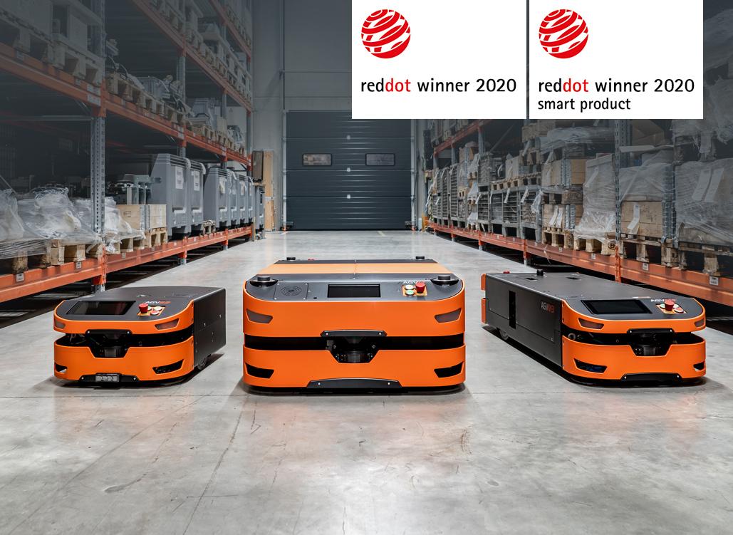 SAFELOG AGV-Family (3 mobil robots) + Label Red Dot Winner 2020 and Winner 2020 Smart Product